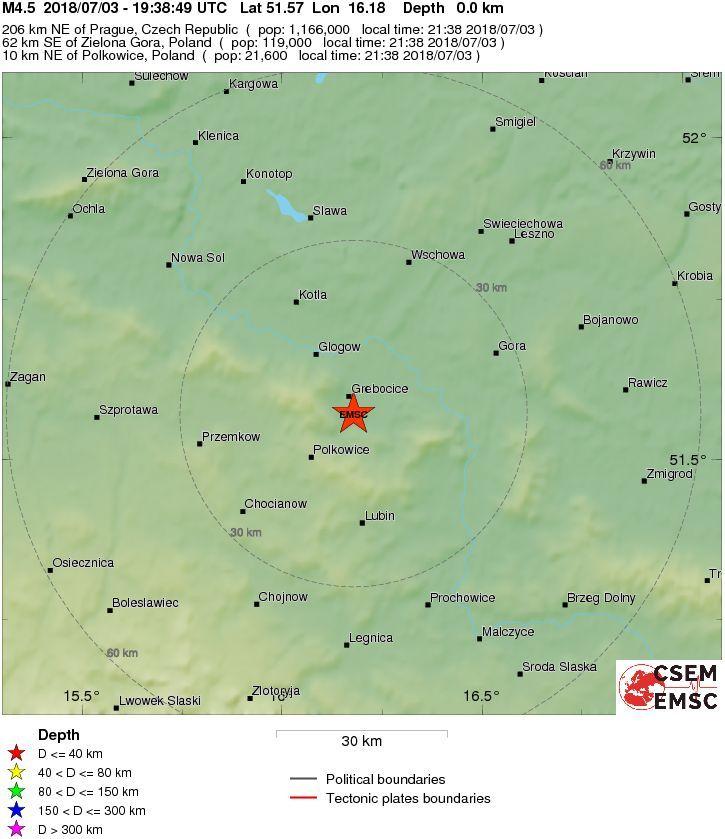 Wstrząs w rejonie Polkowic
